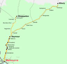 Victorian North-Eastern Rail Map